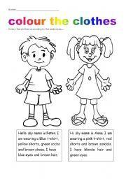 Resultado de imagen para worksheet colours and clothes