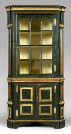 corner cupboard, single-case construction, yellow pine throughout with red, white and blue painted surface (the paint. Antique Furniture, Painted Furniture, Refinished Furniture, Southern Furniture, Painted Boxes, Painted Wood, Corner Cupboard, Charlottesville, Neoclassical