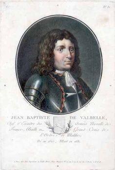 D'après SWEBACH DES FONTAINES Portrait de Jean-Baptiste de Valbelle chef d'escale des armées navalles de France, Bailli et Grand-Croix de l'Ordre de Malthe, né en 1627, mort en 1681. Gravure en couleurs. 31 x 23 cm.