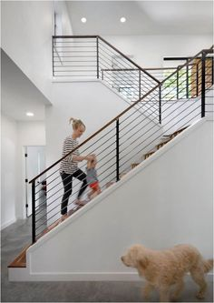 modern stair railing Staircase Contemporary with banister cable rail entry foyer. modern stair railing Staircase Contemporary with banister cable rail entry foyer minimal minimalist Cable Stair Railing, Modern Stair Railing, Stair Railing Design, Staircase Railings, Banisters, Stairways, Metal Railings, Indoor Railing, Staircase Ideas