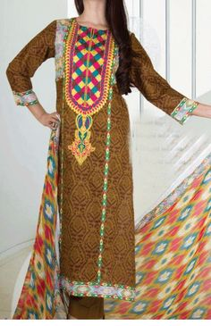 Buy Brown Embroidered Chiffon by V.s Embroidered Chiffon Spring Collection 2015.