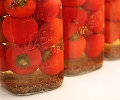 A pickled cherry pepper recipe which goes nice when stuffed with anchovies or cream cheese Cherry Pepper Canning Recipe, Pickled Hot Cherry Peppers Recipe, Cherry Pepper Recipes, Pickled Pepper Recipe, Pickled Sweet Peppers, Canning Peppers, Stuffed Sweet Peppers, Pickled Cherries, Canned Cherries