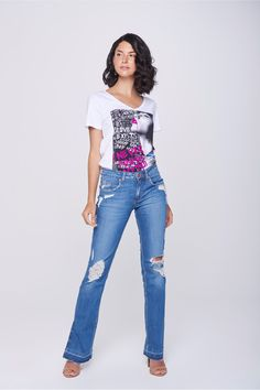 f18c0108f Calça Jeans Reta Feminina - Damyller-smartphone