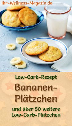 Low Carb Banana Cookies - Easy Recipe for Christmas Biscuits - Kekse - Cookies Oreo, Cookies Banane, Almond Flour Cookies, Sugar Free Cookies, Low Carb Desserts, Low Carb Recipes, Meal Recipes, Dinner Recipes, Cookies Healthy