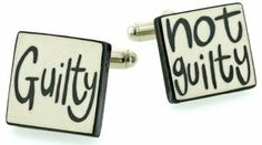 """Handmade ceramic """"guilty/not guilty"""" cufflinks with presentation box (legal/lawyer). Made in England Cufflinks House. $45.00. As individual as you are... Handmade. Presentation boxed. Perfect gift"""