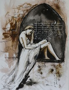 "Saatchi Online Artist: Sara Riches; Pen and Ink, 2012, Drawing ""Lady of Shalott"""