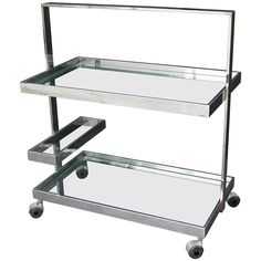 French Rolling Drinks Cart of Chrome   From a unique collection of antique and modern bar carts at https://www.1stdibs.com/furniture/tables/bar-carts/