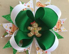 Christmas Boutique Style Hair Bow by NattiesBowtique on Etsy