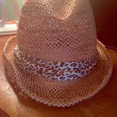 SOLD SOLD SOLD Cute straw hat with leopard lining has never been worn and in good condition ! Other