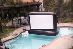 {Tech} Inflatable TV screen - Created by the team at Superior Inflatables, this backyard movie screen provides a 8 feet by 4.5 feet screen on which to watch all of your favorite movies #tech #TV #geek