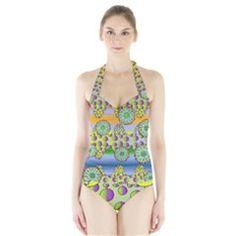 Amoeba Flowers Halter Swimsuit by CosmicEsoteric