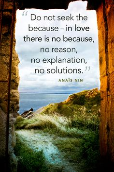 """""""Do not seek the because - in love there is not because, no reason, no explanations, no solutions"""" Anaïs Nin"""