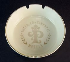 Vintage Inter Continental Hotels Paris, France Ceramic Hotel Advertising Ashtray VCAT-CICH ... For Sale at www.claudiasbargains.com
