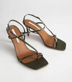Cross Strap Stiletto Sandals - Khaki - Heeled sandals - & Other Stories Stilettos, Pumps Heels, Stiletto Heels, High Heels, Heeled Sandals, Prom Heels, Sandal Heels, Wedding Heels, Black Heels