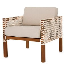 Armchair with leather lattice Outdoor Chairs, Outdoor Furniture, Outdoor Decor, Weylandts, Teak, Love Seat, Armchair, New Homes, Couch