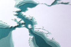 San Francisco Bay in Teal - original 8 x 10 papercut art