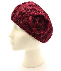 Winter Mudd Women Headband Crocheted Red With Sparkles Rose New One Size 3184