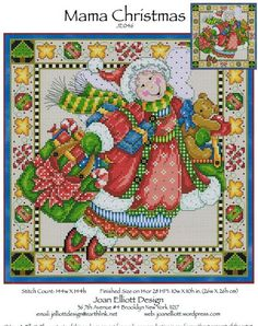 Joan Elliott Mama Christmas - Cross Stitch Pattern. Model stitched on fabric of your choice with DMC floss, Kreinik #4 braid and Mill Hill Beads. Stitch Count: