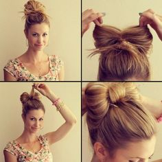 Hair updo, bow, hoe to, tutorial, cute, #style hairdo.