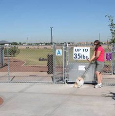 The Pioneer Park off-leash dog play area is a large fenced off leash facility in Peoria, Arizona. There are separate areas for smaller dog and larger dogs, defined generally by weight.