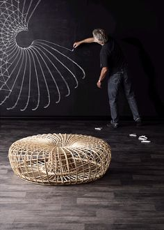 Rattan pouf Nest Collection by @caneline  | design Foersom