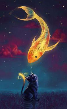 Art fantasy goldfish kitten Mobile Wallpaper - ID 13927 Art And Illustration, Vintage Illustrations, Conceptual Illustrations, Fantasy Kunst, Fantasy Art, Anime Fantasy, Fantasy Paintings, Digital Paintings, Art Paintings