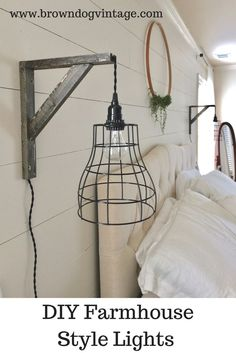 Check out how to DIY two cage pendant lights and brackets for $40!