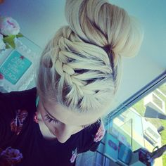 Love the braid going into the sock bun! Different and really cute