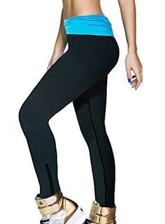 awesome Womens Capri Leggings Sports Yoga Pants Pants Running Tights (M, YZ-Blue + Black)