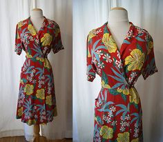 Rare1940's red Hawaiian floral print day wrap dress by wearitagain, $250.00