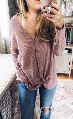 #fall #outfits women's purple button-up long-sleeved shirt Click To Shop This Look.