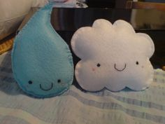 plush cloud and raindrop- make the cloud stuffed with rice for warming pouch