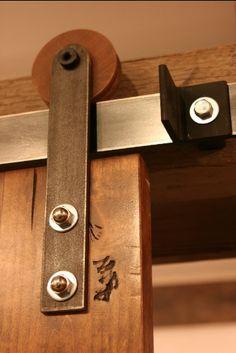 Barn Door Hardware - Modern Wooden Wheel with Steel Hangers