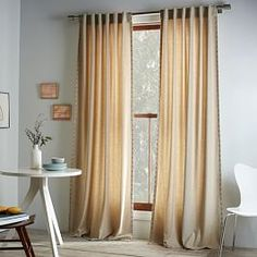 Studded Wool Curtain - Heathered Oatmeal