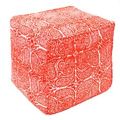 Red Maya Paisley Pouf Ottoman (India) | Overstock.com Shopping - Top Rated Ottomans