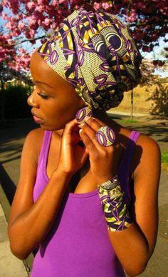 très jolie façon de porter son turban en le faisant combiner avec quelques accessoires.