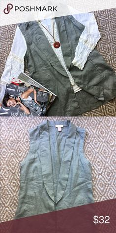 St. Tropez West Linen Vest A fall must have!! Amazing linen vest, perfect piece to pair with a turtleneck and dark skinnies. Perfect condition. St. Tropez Jackets & Coats Vests