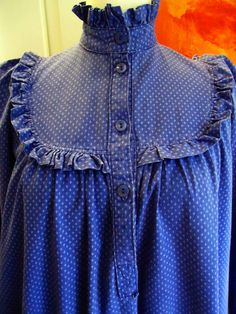 VINTAGE LAURA ASHLEY EARLY 1970s MADE IN WALES COTTON RUFFLED SMOCK DRESS 14