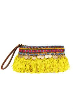Elliot Mann / Indie Pouch yellow This clutch is the perfect size for all your… Diy Clutch, Clutch Bag, Boho Gypsy, Hippie Boho, Boho Chic, Tote Bags, Ethno Style, Ethnic Bag, Mellow Yellow