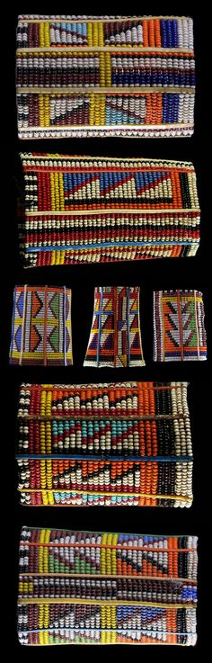 Africa | Kenya | Cuff bracelets from the Maasai people | Wire, plastic, glass beads | 2nd half 20th century || Prices 120 - 150€ each