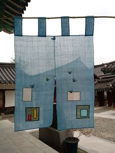 Korean Traditional, Traditional Art, Patchwork Curtains, Noren Curtains, Crazy Patchwork, Textiles, Through The Window, Textile Artists, Fabric Art