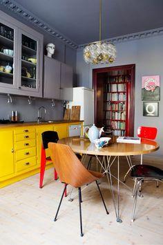 belle idee deco cuisine blanche et bleu | Küche