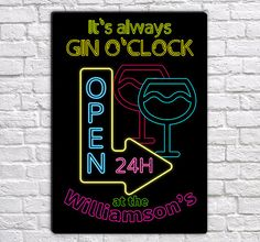 Neon Effect Wall Sign, Gin OClock, Personalized (lightweight Aluminium) ❤ ❤ ❤ ❤ ❤ ❤ ❤ ❤ ❤ ❤ ❤ ❤ ❤ ❤ ❤ Height: 28 cm / 11 inch Width: 19 cm / 7.5 inch High Quality Print Beautiful High Gloss Finish Sticker Pads For Easy Hanging Lightweight Aluminium All my items are made to order :)