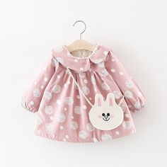 Baby / Toddler Girl Lovely Irregular Doll Collar Polka Dots Long-sleeve Dress with Bunny Bag Set Source by patpatshopping Sets Baby Girl Dress Patterns, Baby Dress Design, Toddler Girl Dresses, Baby Kids Clothes, Little Girl Dresses, Toddler Girls, Girls Winter Fashion, Baby Girl Fashion, Toddler Fashion