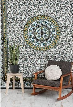 I need to cover my ugly ugly futon. Yellow walls in my room. Blue walls next door. Smaller pattern like this? Busy? Maybe just plain with some throw pillows...