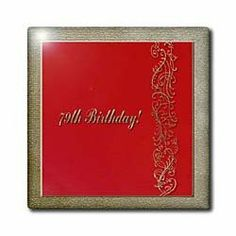 """79th Birthday Red and Gold Design - 12 Inch Ceramic Tile by Beverly Turner Photography. $22.99. Image applied to the top surface. Dimensions: 12"""" H x 12"""" W x 1/4"""" D. Clean with mild detergent. High gloss finish. Construction grade. Floor installation not recommended.. 79th Birthday Red and Gold Design Tile is great for a backsplash, countertop or as an accent. This commercial quality construction grade tile has a high gloss finish. The image is applied to the ..."""