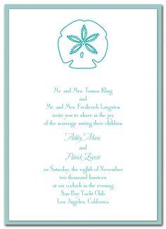 Dancing Sand Dollar - Wedding Invitations by Invitation Consultants. (Item # ST-JMGWEWHT )