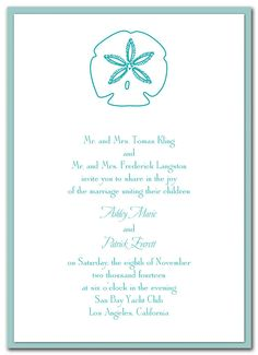 Dancing Sand Dollar - Wedding Invitations by Invitation Consultants. (Item # ST-JMGWEWHT )
