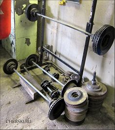A garage gym made of car parts - great stuff