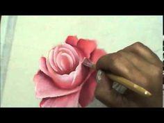 Pintando Rosas - pintura em tecido